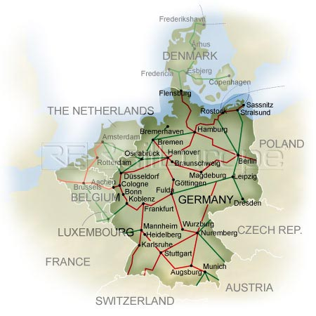 Rail map of Germany Click Rail Europe for Germany or European rail travel