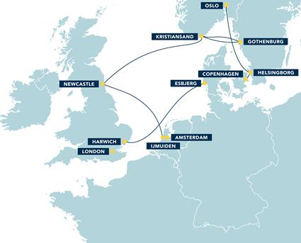 DFDS Seaways Ferries Route Map