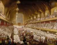 Oil Painting of George IV coronation banquet in Westminster Hall